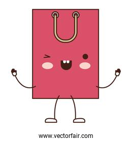 square animated kawaii shopping bag icon with handle in colorful silhouette