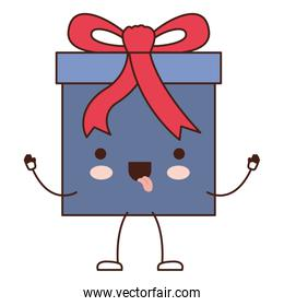 animated kawaii gift box icon with decorative ribbon in colorful silhouette