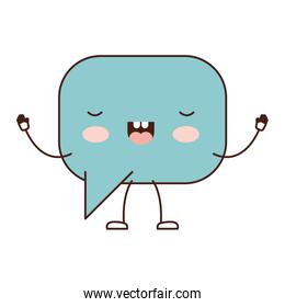 animated kawaii square dialogue speech and rounded with tail in colorful silhouette