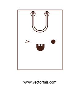 square kawaii shopping bag icon with handle in monochrome silhouette