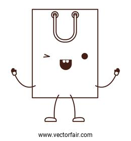 square animated kawaii shopping bag icon with handle in monochrome silhouette