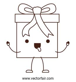 animated kawaii gift box icon with decorative ribbon in monochrome silhouette