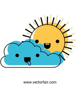 kawaii cloud and sun in watercolor silhouette