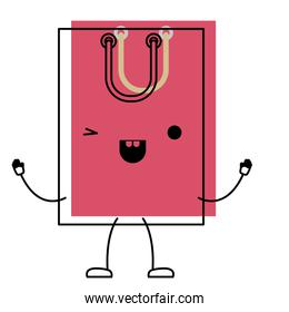 square animated kawaii shopping bag icon with handle in watercolor silhouette