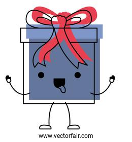 animated kawaii gift box icon with decorative ribbon in watercolor silhouette