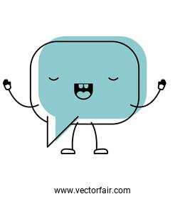 animated kawaii square dialogue speech and rounded with tail in watercolor silhouette
