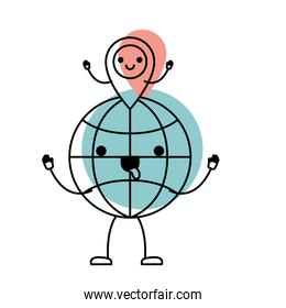 animated kawaii world globe and kawaii map pointer on top in watercolor silhouette