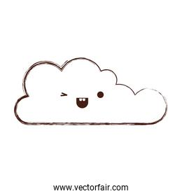 kawaii cloud icon flat in monochrome blurred silhouette