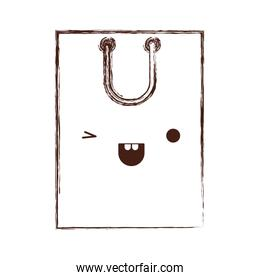 square kawaii shopping bag icon with handle in monochrome blurred silhouette