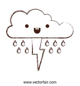 kawaii cloud with rain and thunderbolt in monochrome blurred silhouette
