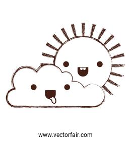 kawaii cloud and sun in monochrome blurred silhouette
