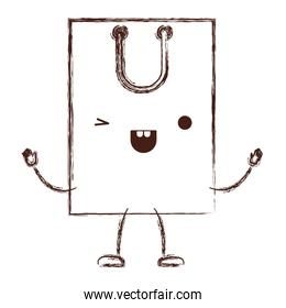square animated kawaii shopping bag icon with handle in monochrome blurred silhouette