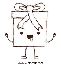 animated kawaii gift box icon with decorative ribbon in monochrome blurred silhouette
