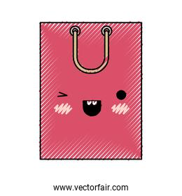 square kawaii shopping bag icon with handle in colored crayon silhouette
