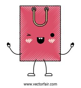 square animated kawaii shopping bag icon with handle in colored crayon silhouette