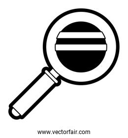 magnifying glass icon in black silhouette with thick contour