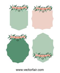 set of freames with floral ornament in colorful silhouette