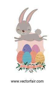 bunny jumping over frame with easter eggs and ornament floral in colorful silhouette