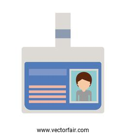 identification card with half body man picture and faceless with short hair in colorful silhouette