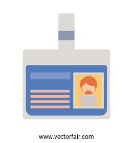 identification card with half body man picture and faceless with short hair and van dyke beard in colorful silhouette