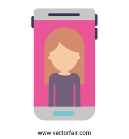 smartphone faceless woman profile picture with long straight hair in colorful silhouette