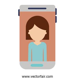smartphone faceless woman profile picture with hair middle length in colorful silhouette