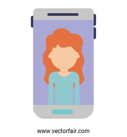 smartphone faceless woman profile picture with long wavy hair in colorful silhouette