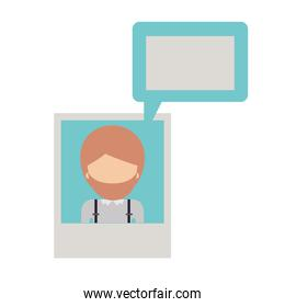 faceless man social network picture profile dialogue comments in colorful silhouette