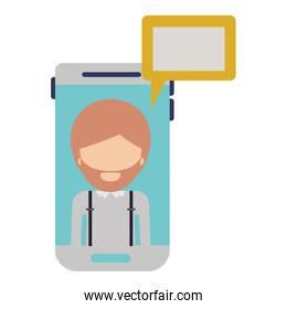 faceless man social network smartphone screen dialogue in colorful silhouette