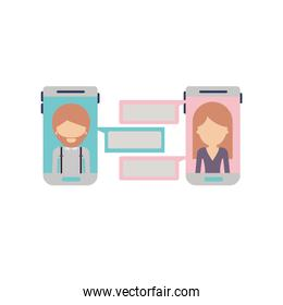 faceless man and woman social network chat in smartphone in colorful silhouette