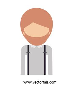 half body faceless man with suspenders and beard in colorful silhouette