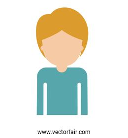 half body faceless guy with short hair in colorful silhouette