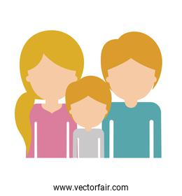 half body faceless family group with blonde hair in colorful silhouette