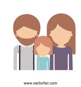 half body faceless family group with light brown hair in colorful silhouette