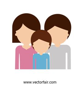 half body faceless family group with brown hair in colorful silhouette