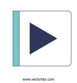 play button icon in blue color sections silhouette