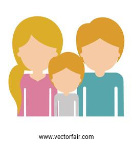 half body faceless people with woman with pigtail hairstyle and man and boy both with short hair in colorful silhouette without contour
