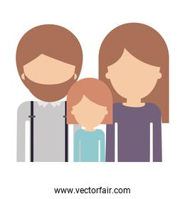 half body faceless people with man with beard and girl and woman with long straight hair in colorful silhouette without contour