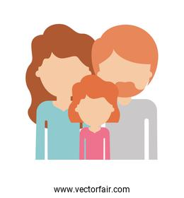 half body faceless people with woman and girl with wavy hair and man with beard in colorful silhouette without contour