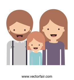 half body people with man with beard and girl and woman with long straight hair in colorful silhouette without contour