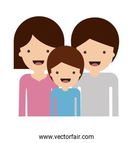 half body people and woman mushroom hairstyle and man and boy with short hair in colorful silhouette without contour