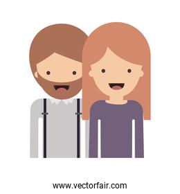 half body people with man with beard and woman with long straight hair in colorful silhouette without contour