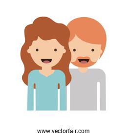 half body people with woman wavy hair and man with beard in colorful silhouette without contour