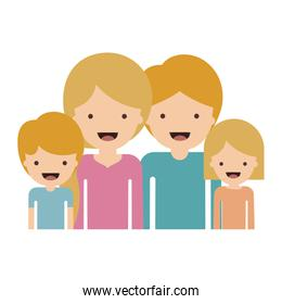 half body people with woman and girl and man and boy with short hair in colorful silhouette without contour