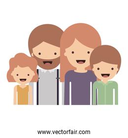 half body people with girl wavy hair and man with beard and woman with long straight hair and boy with short hair in colorful silhouette without contour
