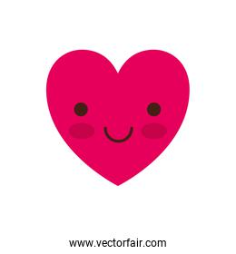 heart kawaii in smiling expression in colorful silhouette