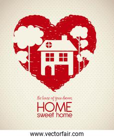 Illustration of home icons house silhouette on heart sketch vect