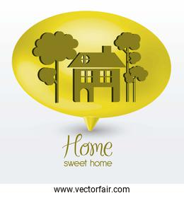 Illustration of home icon on text balloons house silhouettes on