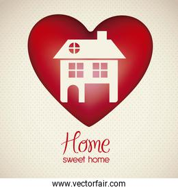 Illustration of home icon on heart house silhouettes on white ba