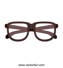 glasses with brown frame silhouette with thin red contour in white background